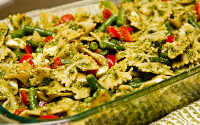 Pasta Salad with Pesto, Green Beans and Cherry Tomatoes