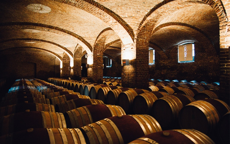 Barrels of vinegar ageing in a cellar
