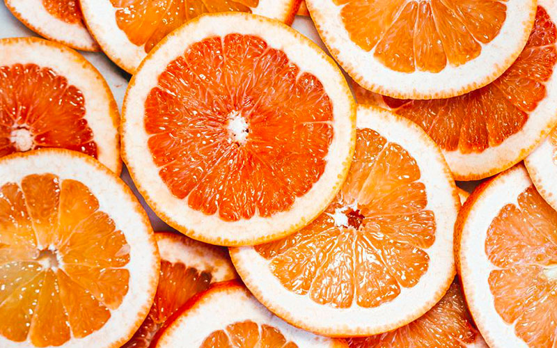 Slices of Sicilian blood oranges