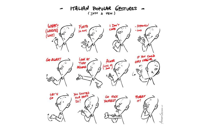 Drawing with lot of Italian gestures
