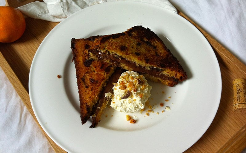 French toast with Nutella and Panettone