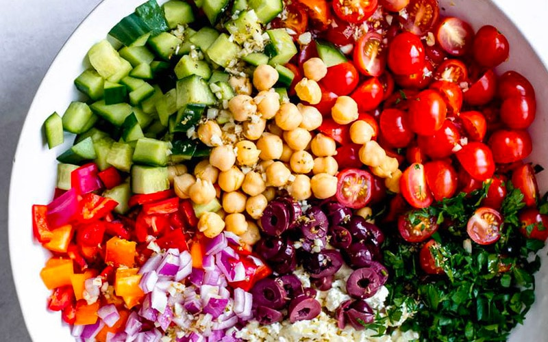 Ingredients for a classic Mediterranean Salad
