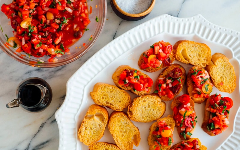 A dish of Bruschetta with fresh tomatoes