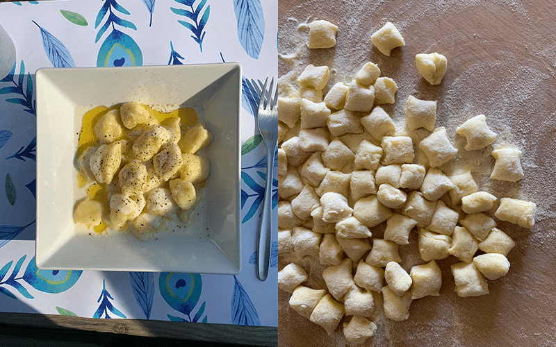 Home-made gnocchi from the scratch and end result