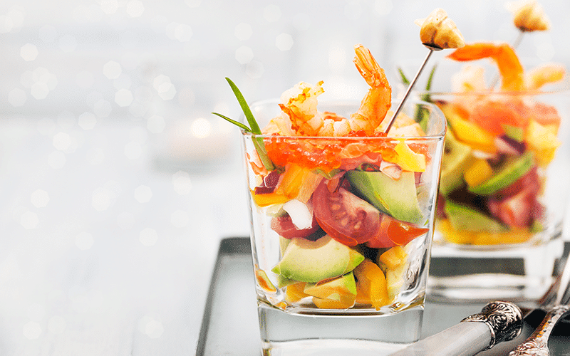 Appetizer with seafood and fruit