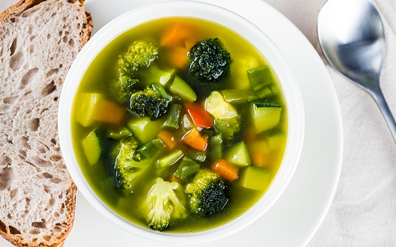 Minestrone soup with chopped vegetables
