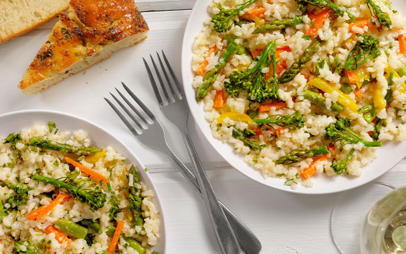 a plate of vegetable risotto