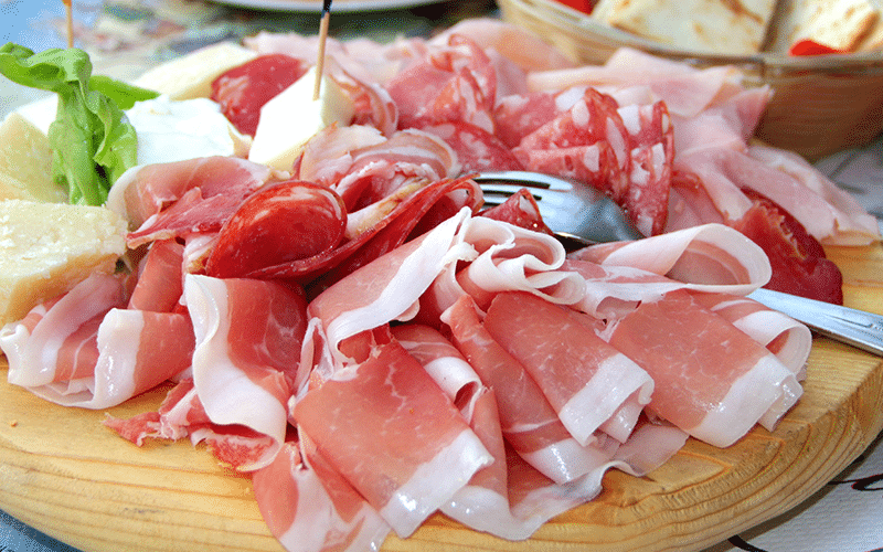 A platter with Parma Ham and other salumi