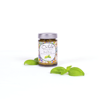 Basil pesto with extra virgin olive oil